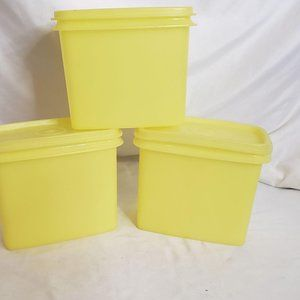 Vintage Tupperware Yellow Rectangle With Lids